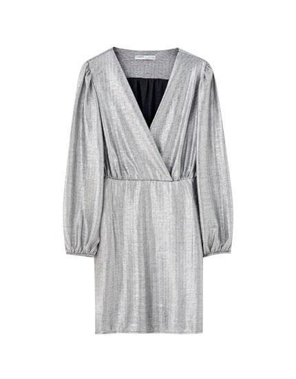 Silver surplice mini dress