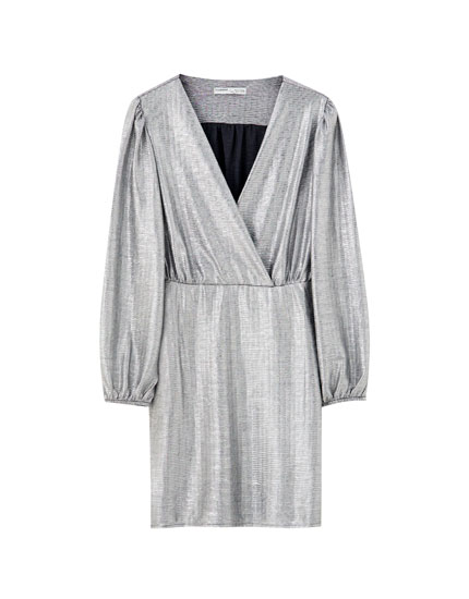 Silver surplice mini dress