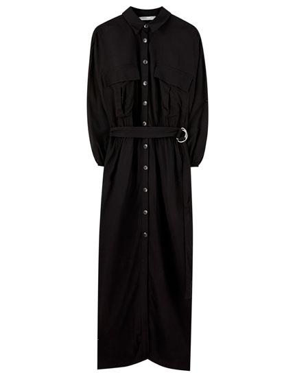 Black utility midi dress