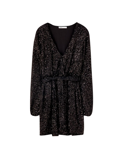 Sequinned wrap mini dress