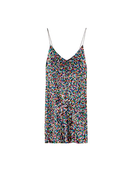 Sequinned strappy mini dress
