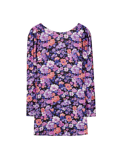 Purple puff sleeve dress