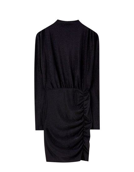 High neck dress with draped detail