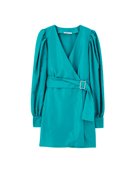 Voluminous wrap dress with belt