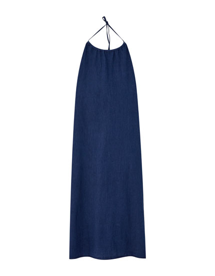 Long halter denim dress