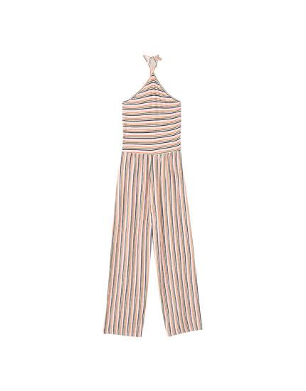 Halter-neck culotte jumpsuit