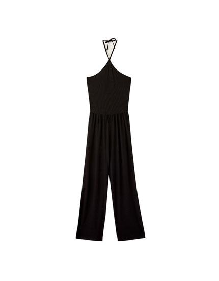 Ολόσωμη φόρμα culotte με λαιμόκοψη halter