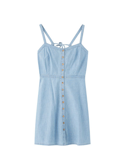 Strappy denim mini dress