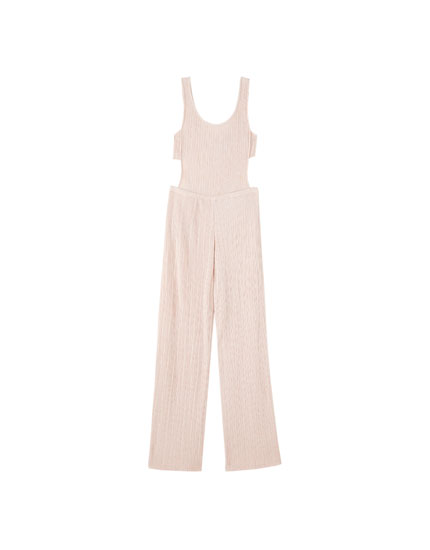 Lange jumpsuit met cut-out en plooien