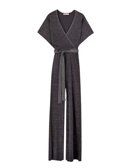 Long silver surplice jumpsuit
