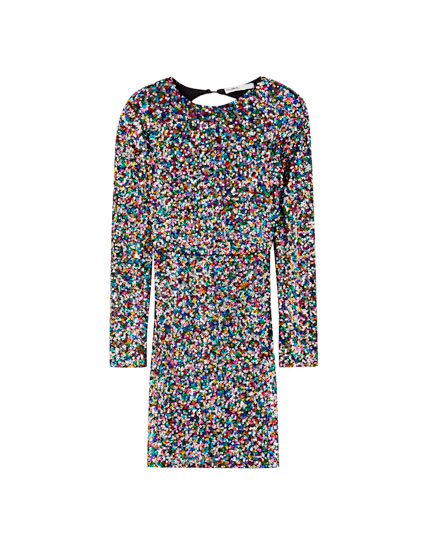 Multicoloured sequinned dress