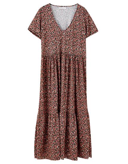 Contrast print midi dress