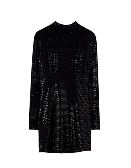 High neck dress with shimmer
