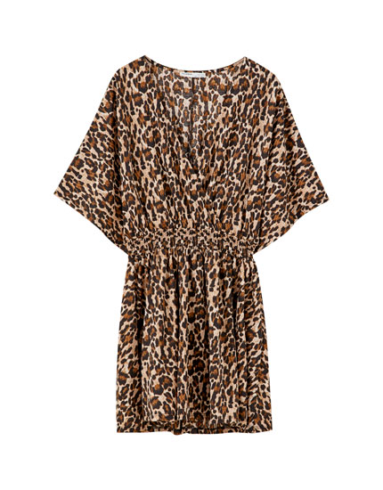 Elasticated leopard print dress