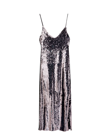Sequinned strappy midi dress