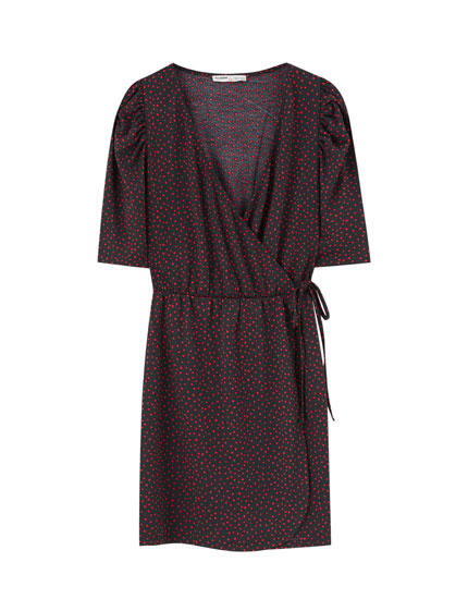 Surplice dress with puff sleeves