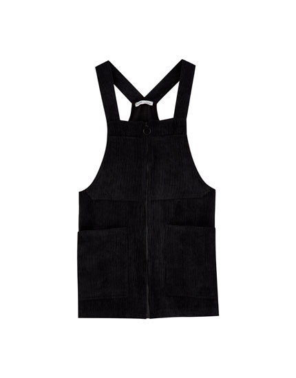Corduroy pinafore dress with zip