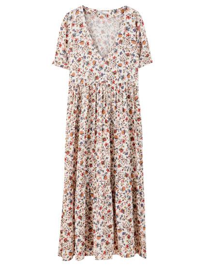 Ριχτό μίντι φλοράλ φόρεμα
