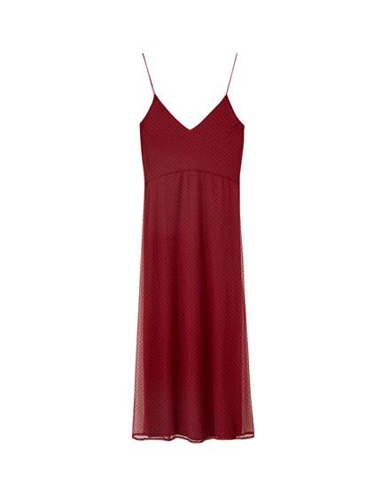 Dotted mesh midi camisole dress