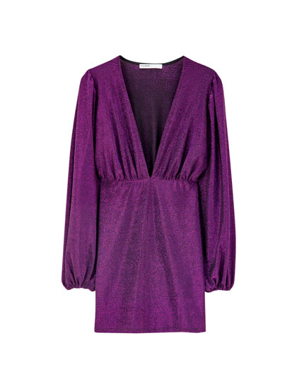 Draped dress with full sleeves