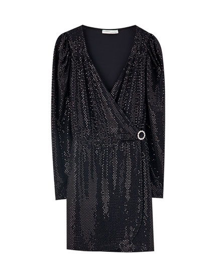 Sequinned wrap dress with full sleeves