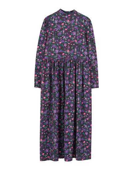 Purple floral print long dress