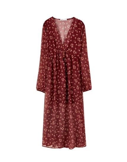 Μίντι φόρεμα με λάστιχο στη μέση