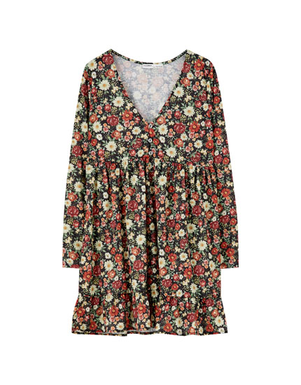 Voluminous floral print dress
