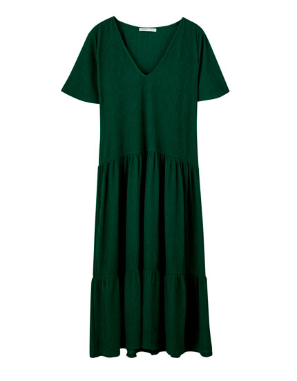 Midi dress with ruffled panels