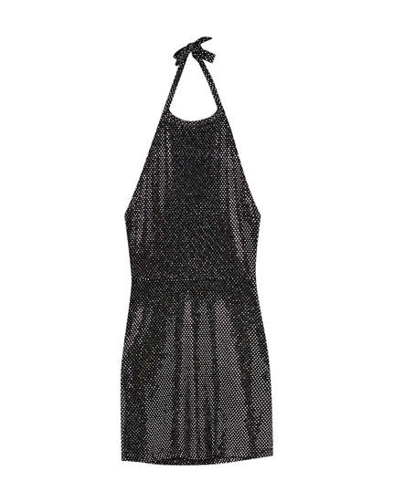 Sequinned halter dress