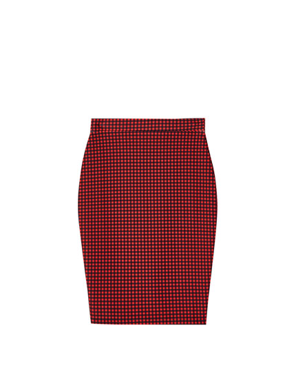 Fitted check midi skirt