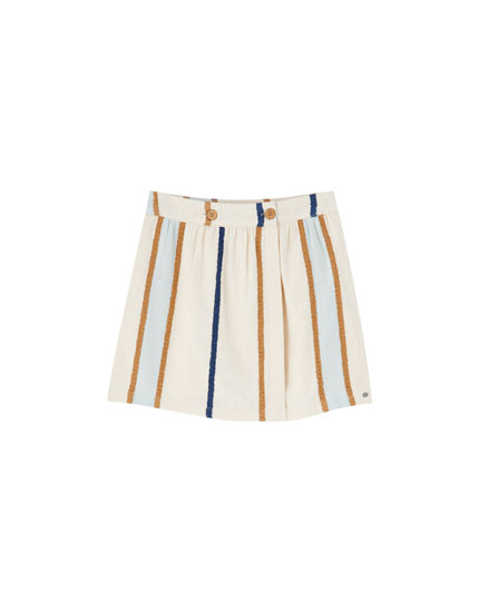 Striped rustic mini skirt with buttons
