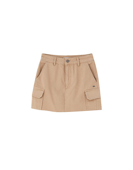 Ochre cargo mini skirt