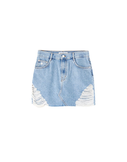 Denim mini skirt with large rips