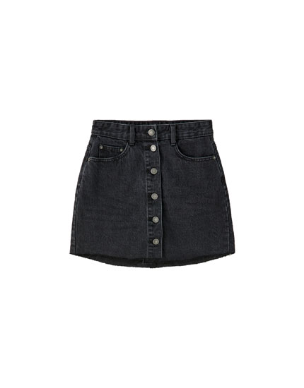 Denim mini skirt with visible buttons