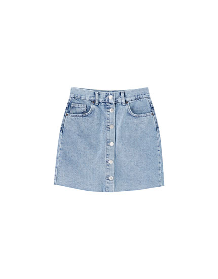 Button-down denim mini skirt
