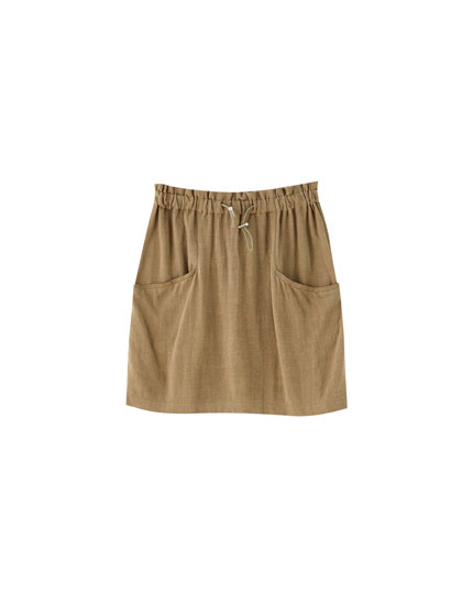 Minifalda paperbag rústica