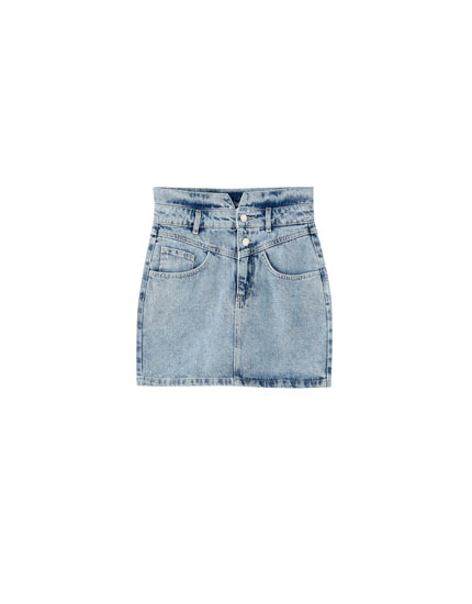 Denim mini skirt with yoke and buttons