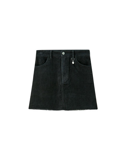 Coloured corduroy mini skirt