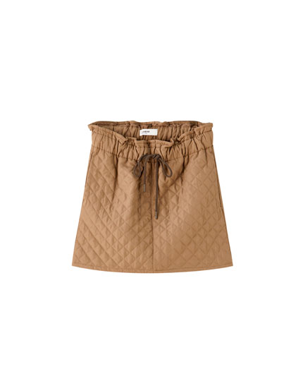 Quilted paperbag mini skirt