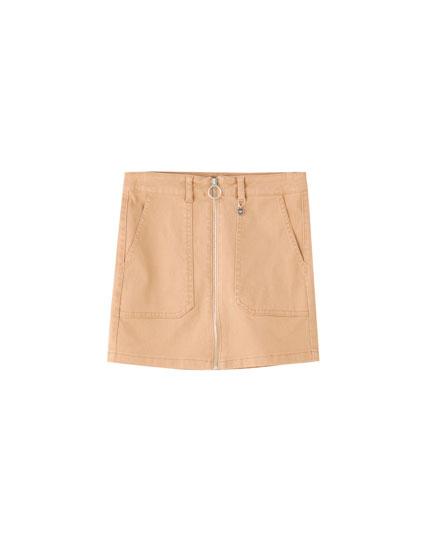 Cargo mini skirt with zip