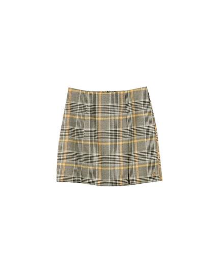 Minifalda cuadros amarillos aberturas