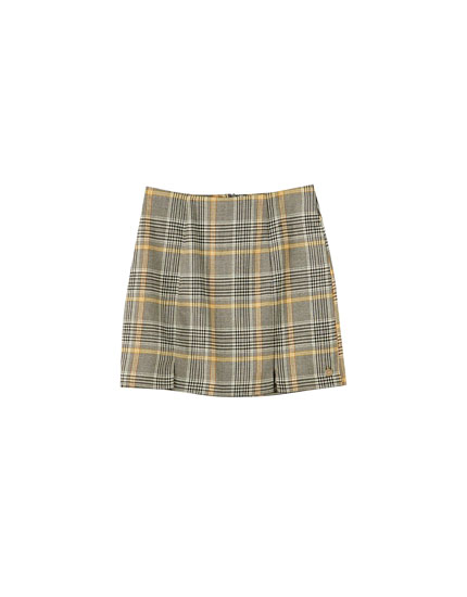 Yellow checked mini skirt with slits