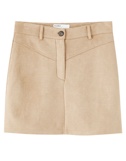 Basic yoke faux suede mini skirt