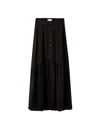 Rustic button-down midi skirt