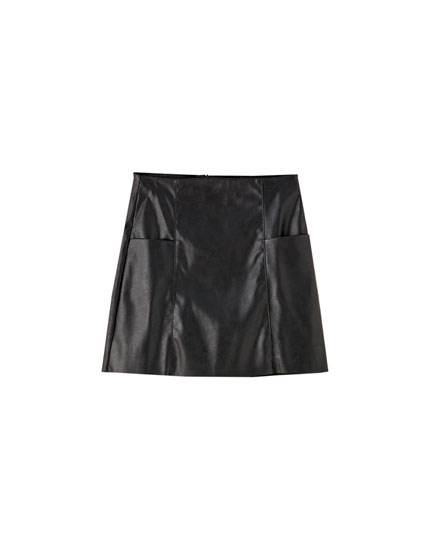 Basic faux leather mini skirt