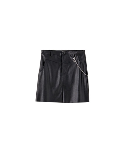 Faux leather mini skirt with yoke detail