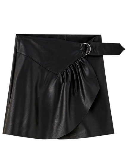 Faux leather wraparound mini skirt