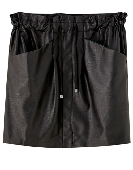 Faux leather drawstring mini skirt
