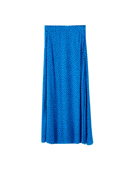 Polka dot midi skirt with slits